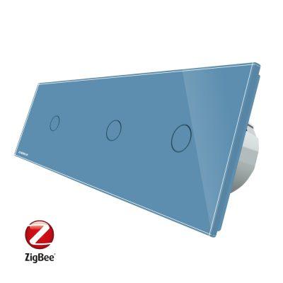 Intrerupator triplu cu touch Livolo din sticla, Protocol ZigBee, Control de pe telefonul mobil culoare albastra