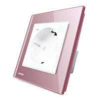 Priza inteligenta pentru perete Livolo ZigBee, Alba, 16A, Wi-Fi, Compatibil cu Alexa si Google Home culoare roz