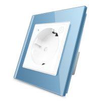 Priza inteligenta pentru perete Livolo ZigBee,16A, Wi-Fi, Compatibil cu Alexa si Google Home culoare albastra
