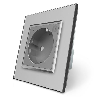 Priza inteligenta pentru perete Livolo ZigBee, Alba, 16A, Wi-Fi, Compatibil cu Alexa si Google Home culoare gri