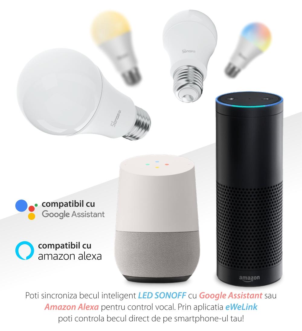 Bec inteligent cu LED Sonoff B05-B-A60, RGB, Putere 9W, 806 LM, Control aplicatie