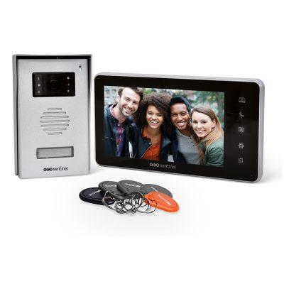 Videointerfon cu fir SCS Sentinel VisioKit 7, 5 Ecusoane hands-free pentru acces, Ecran tactil 7 inch