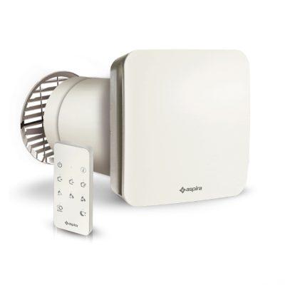 Unitate de ventilatie cu recuperare de caldura, Aspira ECOCOMFORT 160 RF, Debit maxim 68 mc/h, 3 Trepte de viteza, Randament 90 %