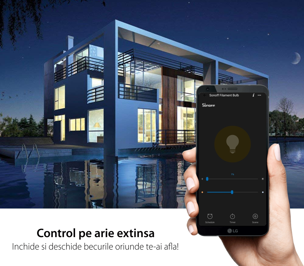 Bec inteligent LED Sonoff B02-F-ST64, Wi-Fi, 7W, 700 LM, Dimmer, Control aplicatie