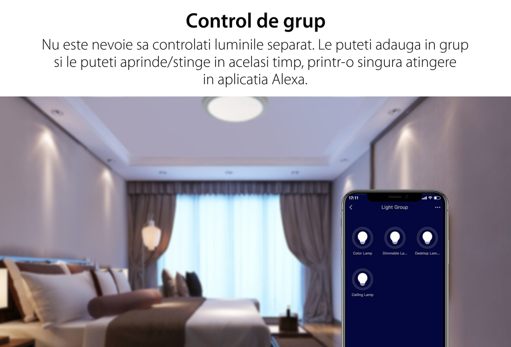 Bec inteligent Wi-Fi, BroadLink LB27, A60, 800 LM, Dimmer, Putere 10W, Control aplicatie