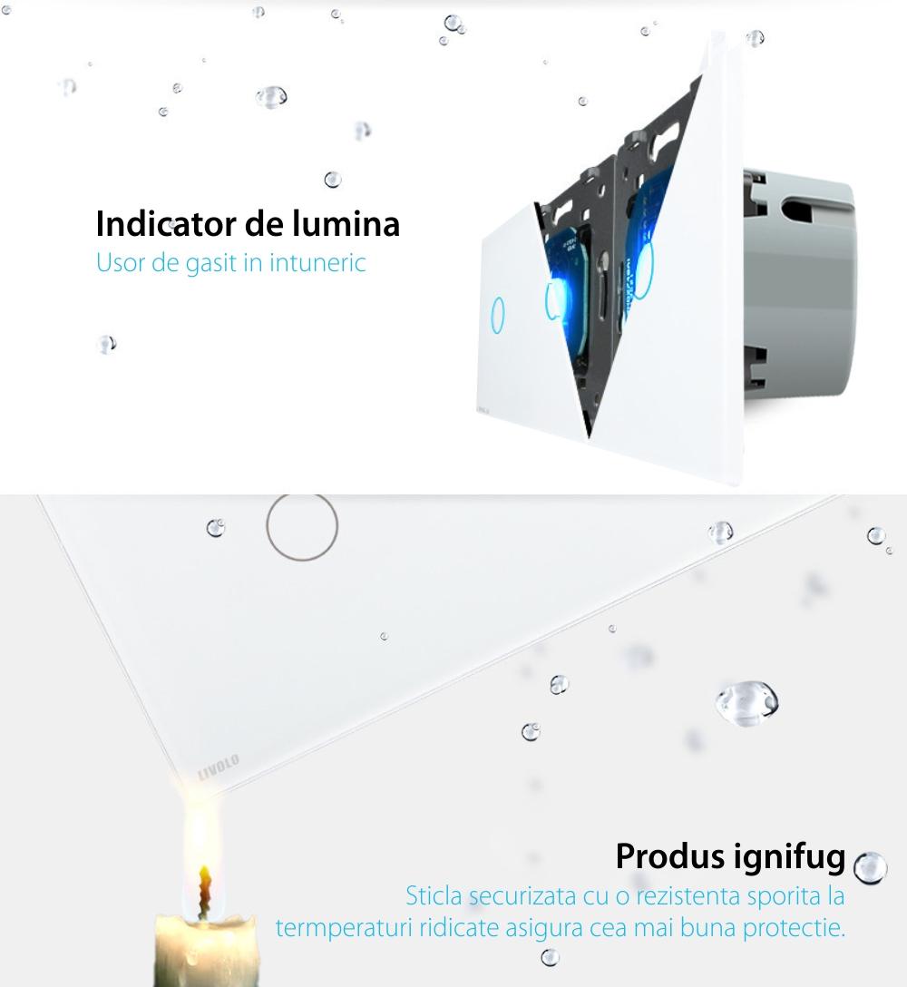 Intrerupator dublu+dublu+dublu cu touch Livolo din sticla, Protocol ZigBee, Control de pe telefon
