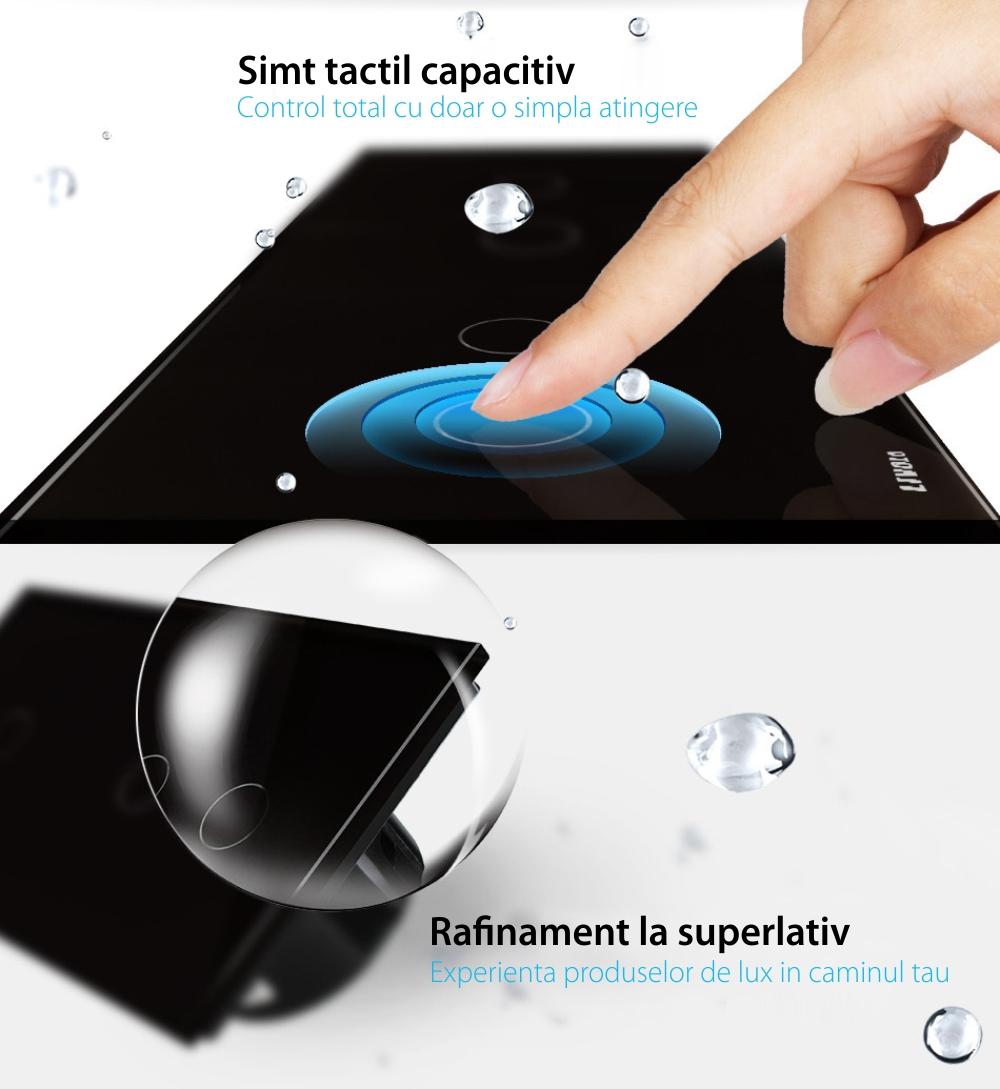 Intrerupator dublu + simplu cu touch Livolo din sticla, Protocol ZigBee, Control de pe telefon