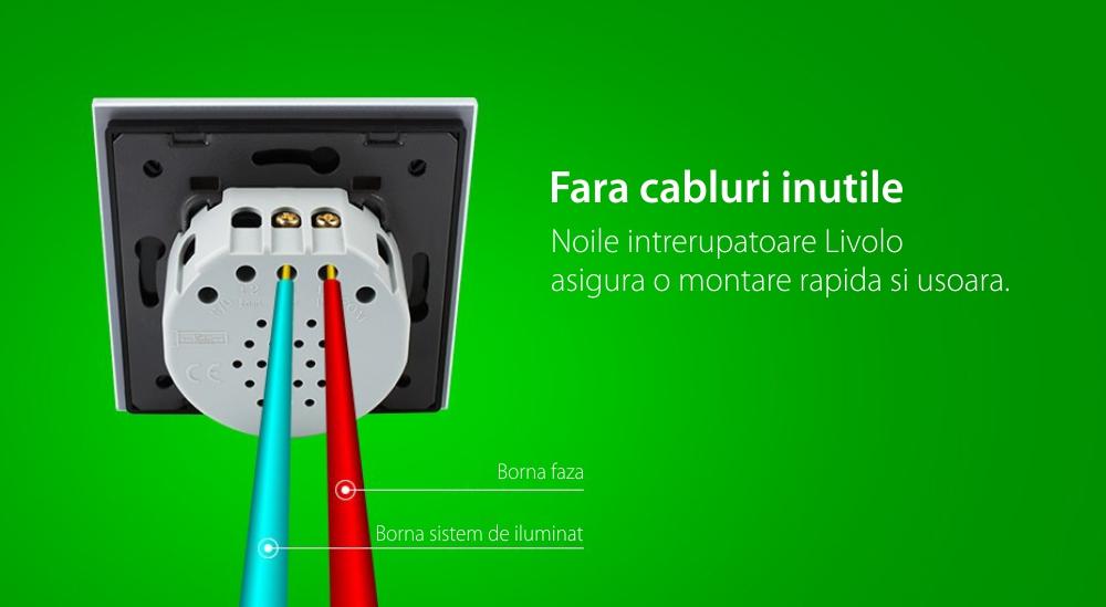 Intrerupator simplu + dublu cu touch Livolo din sticla, Protocol ZigBee, Control de pe telefonul mobil