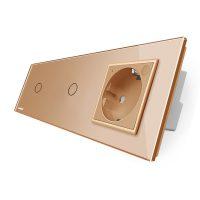 Intrerupator LIVOLO simplu+simplu ZigBee cu touch si priza din sticla ZigBee, Control de pe telefon culoare aurie