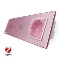 Intrerupator LIVOLO simplu+simplu ZigBee cu touch si priza din sticla ZigBee, Control de pe telefon culoare roz