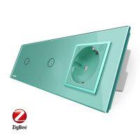Intrerupator LIVOLO simplu+simplu ZigBee cu touch si priza din sticla ZigBee, Control de pe telefon culoare verde