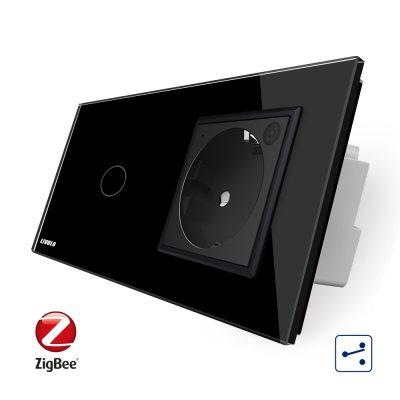 Intrerupator simplu cap scara / cap cruce ZigBee + priza simpla Livolo ZigBee, Rama din sticla, Control de pe telefon culoare neagra