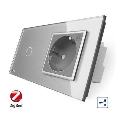 Intrerupator simplu cap scara / cap cruce ZigBee + priza simpla Livolo ZigBee, Rama din sticla, Control de pe telefon culoare gri