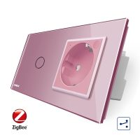 Intrerupator simplu cap scara / cap cruce ZigBee + priza simpla Livolo ZigBee, Rama din sticla, Control de pe telefon culoare roz