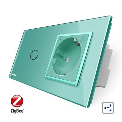 Intrerupator simplu cap scara / cap cruce ZigBee + priza simpla Livolo ZigBee, Rama din sticla, Control de pe telefon culoare verde