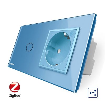 Intrerupator simplu cap scara / cap cruce ZigBee + priza simpla Livolo ZigBee, Rama din sticla, Control de pe telefon culoare albastra