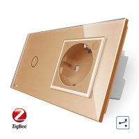 Intrerupator simplu cap scara / cap cruce ZigBee + priza simpla Livolo ZigBee, Rama din sticla, Control de pe telefon culoare aurie