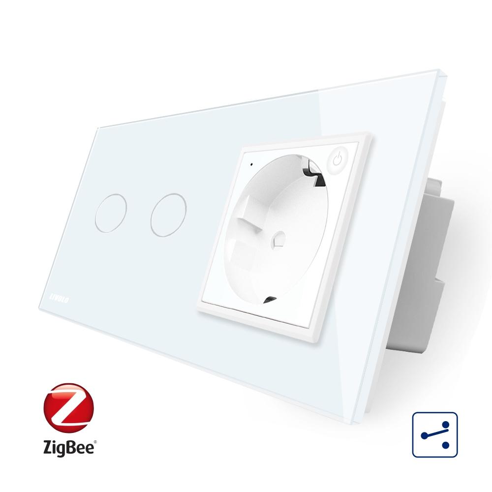 Intrerupator dublu cap scara / cap cruce, ZigBee + priza simpla Livolo ZigBee, rama din sticla, Control de pe telefon imagine case-smart.ro 2021