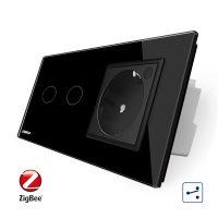 Intrerupator dublu cap scara / cap cruce, ZigBee + priza simpla Livolo ZigBee, rama din sticla, Control de pe telefon culoare neagra