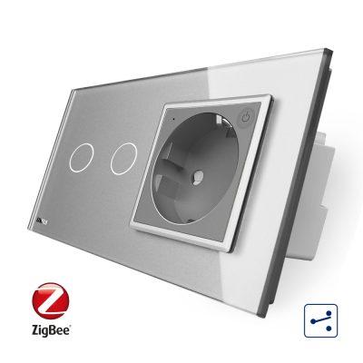 Intrerupator dublu cap scara / cap cruce, ZigBee + priza simpla Livolo ZigBee, rama din sticla, Control de pe telefon culoare gri