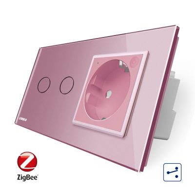 Intrerupator dublu cap scara / cap cruce, ZigBee + priza simpla Livolo ZigBee, rama din sticla, Control de pe telefon culoare roz