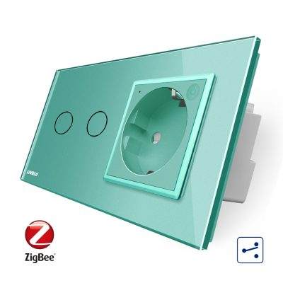 Intrerupator dublu cap scara / cap cruce, ZigBee + priza simpla Livolo ZigBee, rama din sticla, Control de pe telefon culoare verde