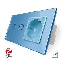 Intrerupator dublu cap scara / cap cruce, ZigBee + priza simpla Livolo ZigBee, rama din sticla, Control de pe telefon culoare albastra