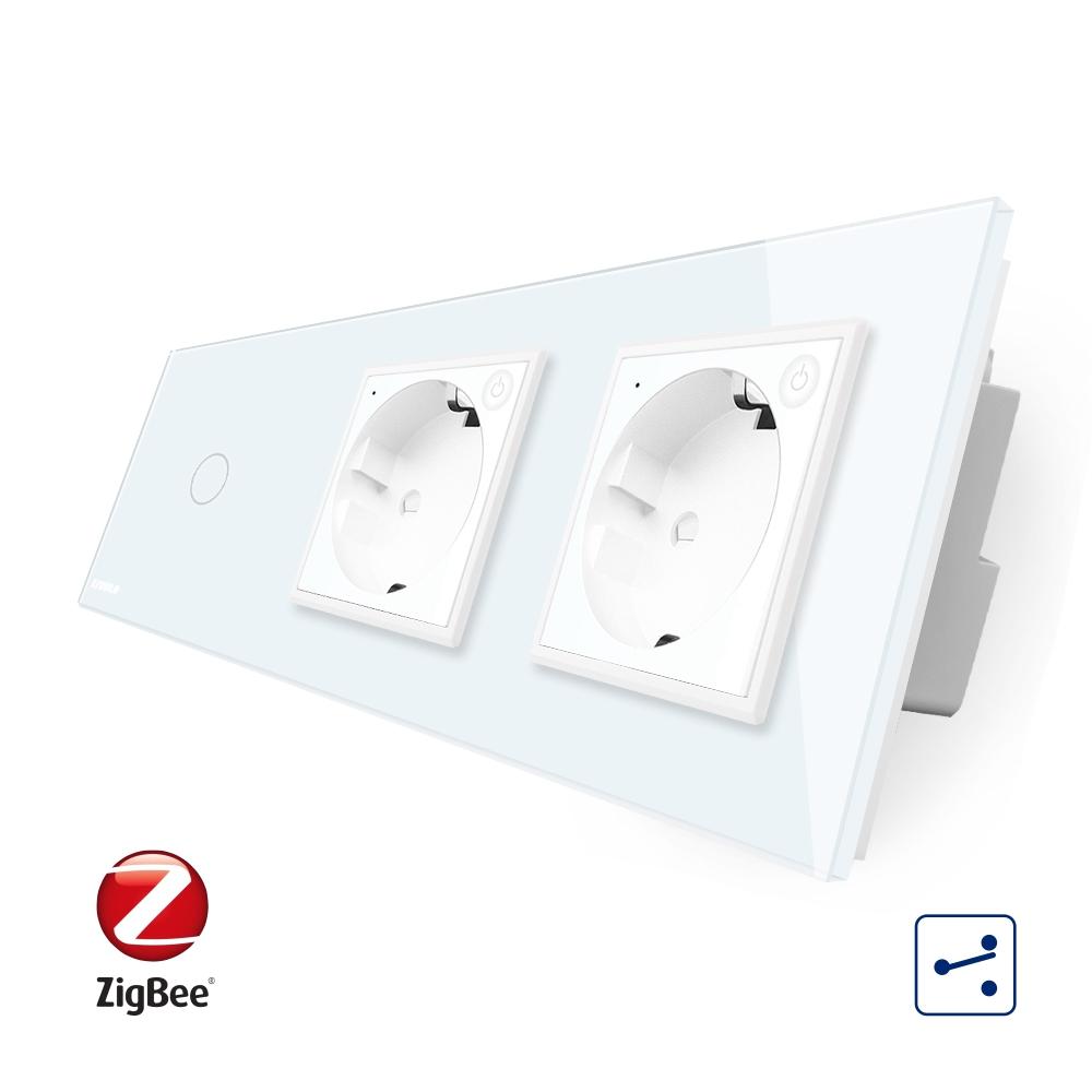 Intrerupator LIVOLO simplu ZigBee cap scara / cap cruce cu touch si 2 prize ZigBee din sticla, Control de pe telefon imagine case-smart.ro 2021