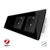 Intrerupator LIVOLO simplu ZigBee cap scara / cap cruce cu touch si 2 prize ZigBee din sticla, Control de pe telefon culoare neagra