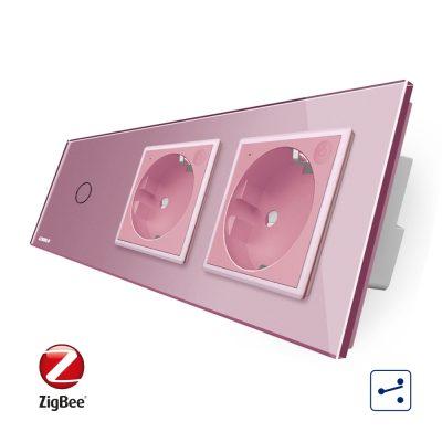Intrerupator LIVOLO simplu ZigBee cap scara / cap cruce cu touch si 2 prize ZigBee din sticla, Control de pe telefon culoare roz