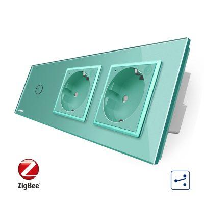 Intrerupator LIVOLO simplu ZigBee cap scara / cap cruce cu touch si 2 prize ZigBee din sticla, Control de pe telefon culoare verde