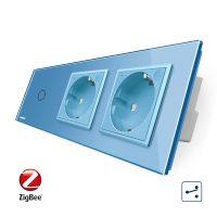 Intrerupator LIVOLO simplu ZigBee cap scara / cap cruce cu touch si 2 prize ZigBee din sticla, Control de pe telefon culoare albastra