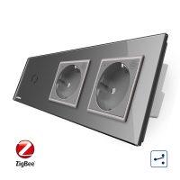 Intrerupator LIVOLO simplu ZigBee cap scara / cap cruce cu touch si 2 prize ZigBee din sticla, Control de pe telefon culoare gri