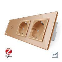 Intrerupator LIVOLO simplu ZigBee cap scara / cap cruce cu touch si 2 prize ZigBee din sticla, Control de pe telefon culoare aurie