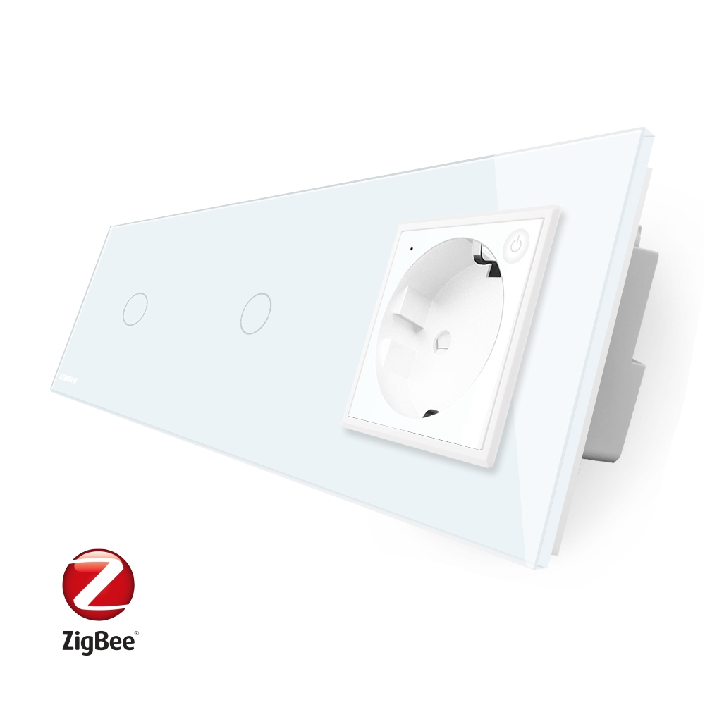 Intrerupator LIVOLO simplu+simplu ZigBee cu touch si priza din sticla ZigBee, Control de pe telefon imagine case-smart.ro 2021