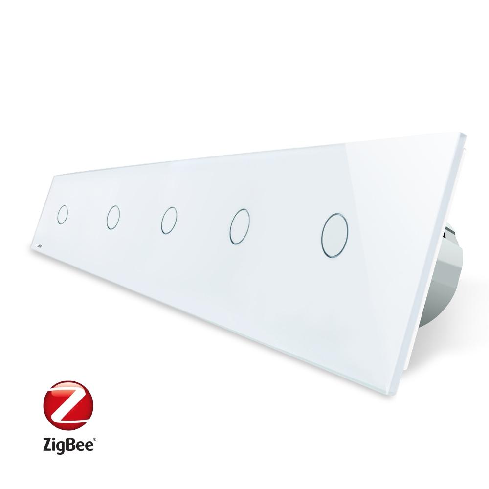 Intrerupator LIVOLO cu touch din sticla cu 5 intrerupatoare simple, Protocol ZigBee, Control de pe telefon imagine case-smart.ro 2021