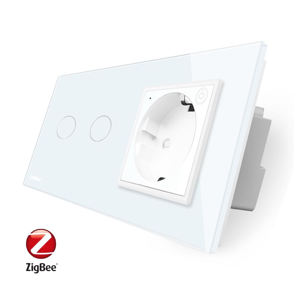 Intrerupator dublu ZigBee + priza simpla ZigBee Livolo, rama din sticla, Control de pe telefon imagine case-smart.ro 2021