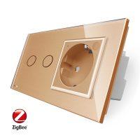 Intrerupator dublu ZigBee + priza simpla ZigBee Livolo, rama din sticla, Control de pe telefon culoare aurie