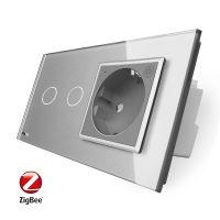 Intrerupator dublu ZigBee + priza simpla ZigBee Livolo, rama din sticla, Control de pe telefon culoare gri