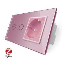 Intrerupator dublu ZigBee + priza simpla ZigBee Livolo, rama din sticla, Control de pe telefon culoare roz