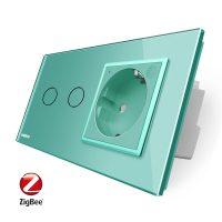 Intrerupator dublu ZigBee + priza simpla ZigBee Livolo, rama din sticla, Control de pe telefon culoare verde