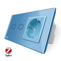 Intrerupator dublu ZigBee + priza simpla ZigBee Livolo, rama din sticla, Control de pe telefon culoare albastra