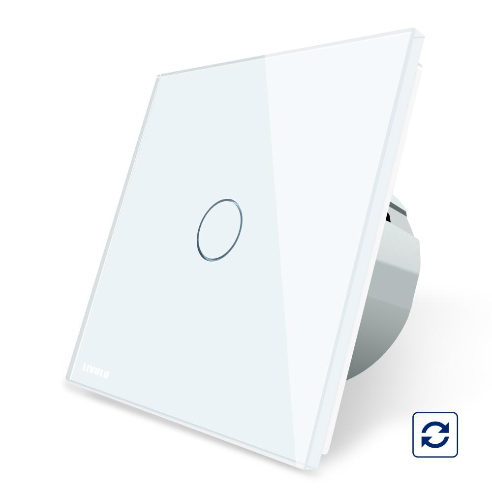 Intrerupator simplu cu revenire contact uscat Livolo cu touch din sticla imagine case-smart.ro 2021