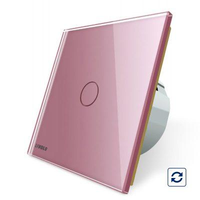 Intrerupator simplu cu revenire contact uscat Livolo cu touch din sticla culoare roz