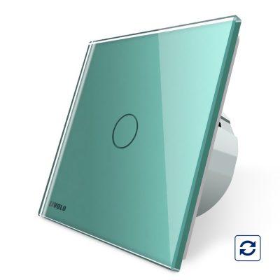 Intrerupator simplu cu revenire contact uscat Livolo cu touch din sticla culoare verde
