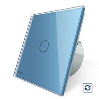Intrerupator simplu cu revenire contact uscat Livolo cu touch din sticla culoare albastra