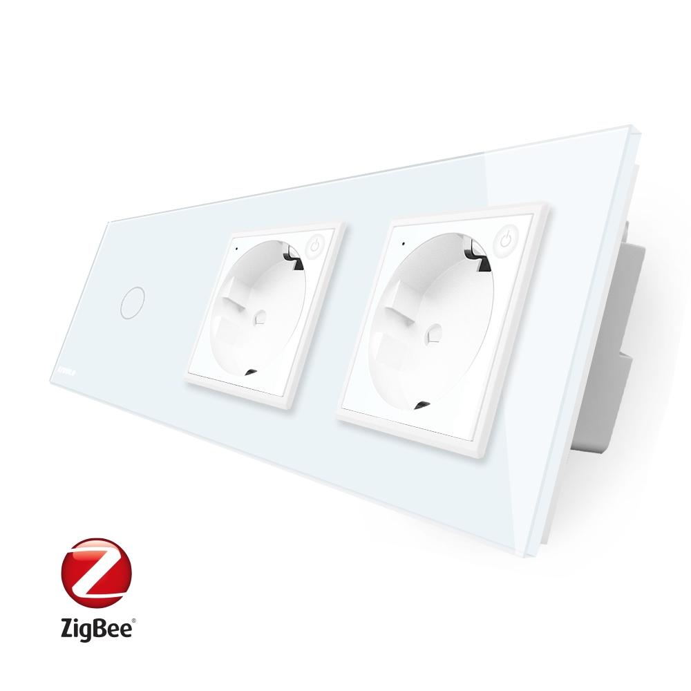 Intrerupator LIVOLO simplu ZigBee cu touch si 2 prize din sticla ZigBee, Control de pe telefon imagine case-smart.ro 2021