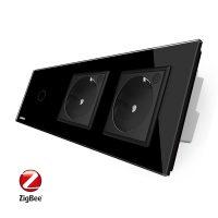 Intrerupator LIVOLO simplu ZigBee cu touch si 2 prize din sticla ZigBee, Control de pe telefon culoare neagra
