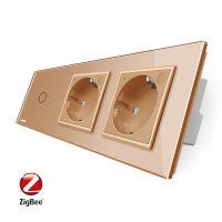 Intrerupator LIVOLO simplu ZigBee cu touch si 2 prize din sticla ZigBee, Control de pe telefon culoare aurie