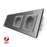 Intrerupator LIVOLO simplu ZigBee cu touch si 2 prize din sticla ZigBee, Control de pe telefon culoare gri